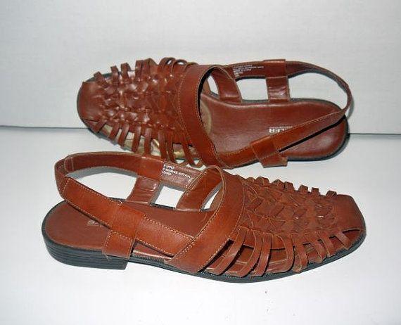 c4549deb81478 Vintage 80s mens woven huaraches / 1980s shoes sandals oxford / tan ...