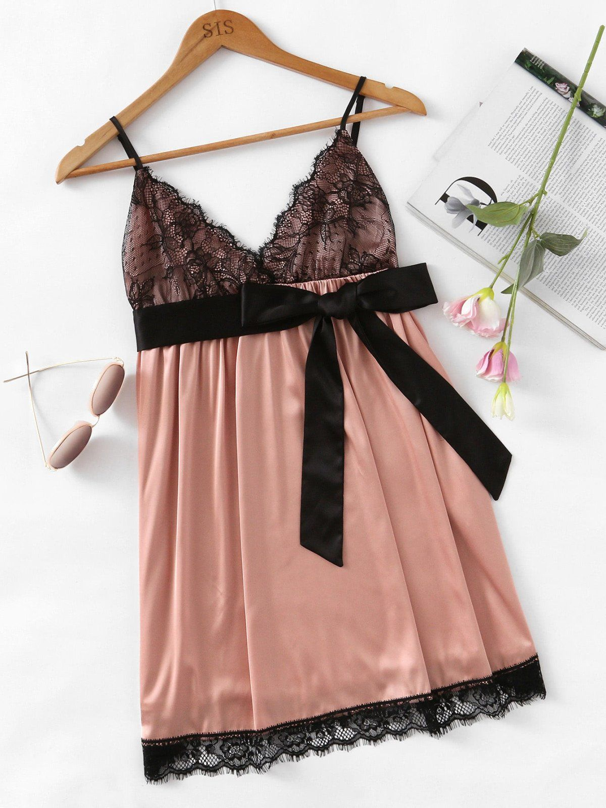 Lace dress nightwear  Eyelash Lace Detail Bow Waist Nightdress  Lace detail Loungewear