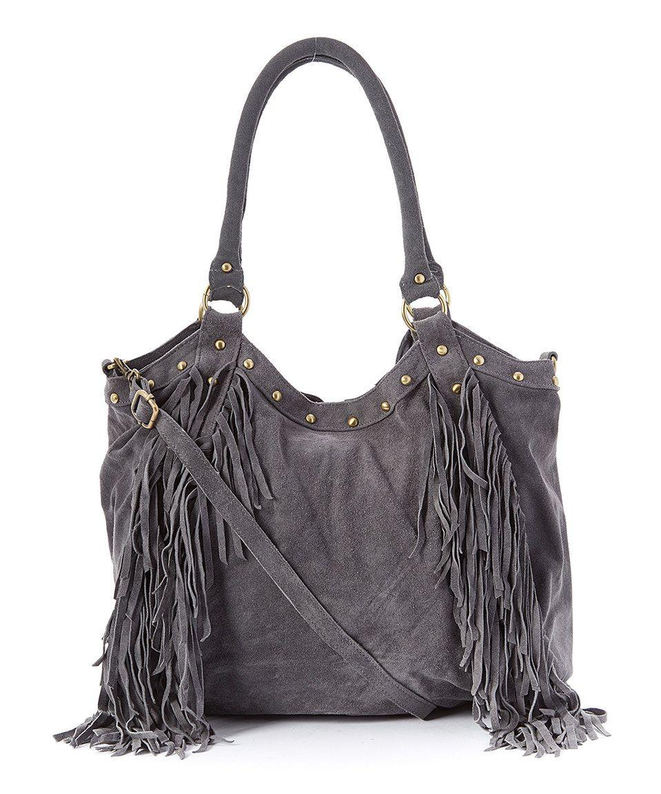 Look at this #zulilyfind! Raj Imports Gray Nikki Leather Fringe Tote by Raj Imports #zulilyfinds