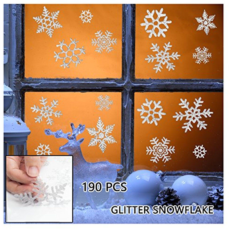 190 pcs Glitter Snowflake Window Clings Static Decal Vinyl Wall