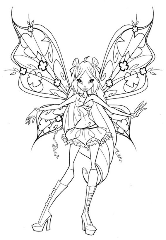 Afficher l'image d'origine | Coloriage winx, Pages coloriage de fées, Coloriage