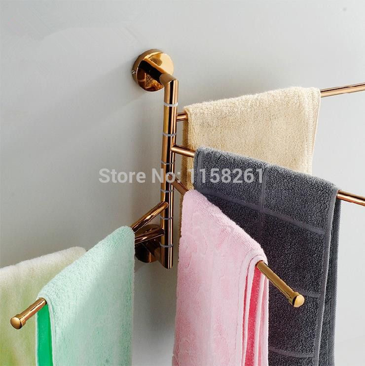 Free Shipping Bathroom Towel Rack Fashion Rose Gold Copper Folding Alluring Bathroom Towel Bar Review