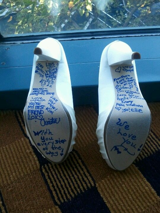 My something blue, brides maids sign bottom if brides shoes