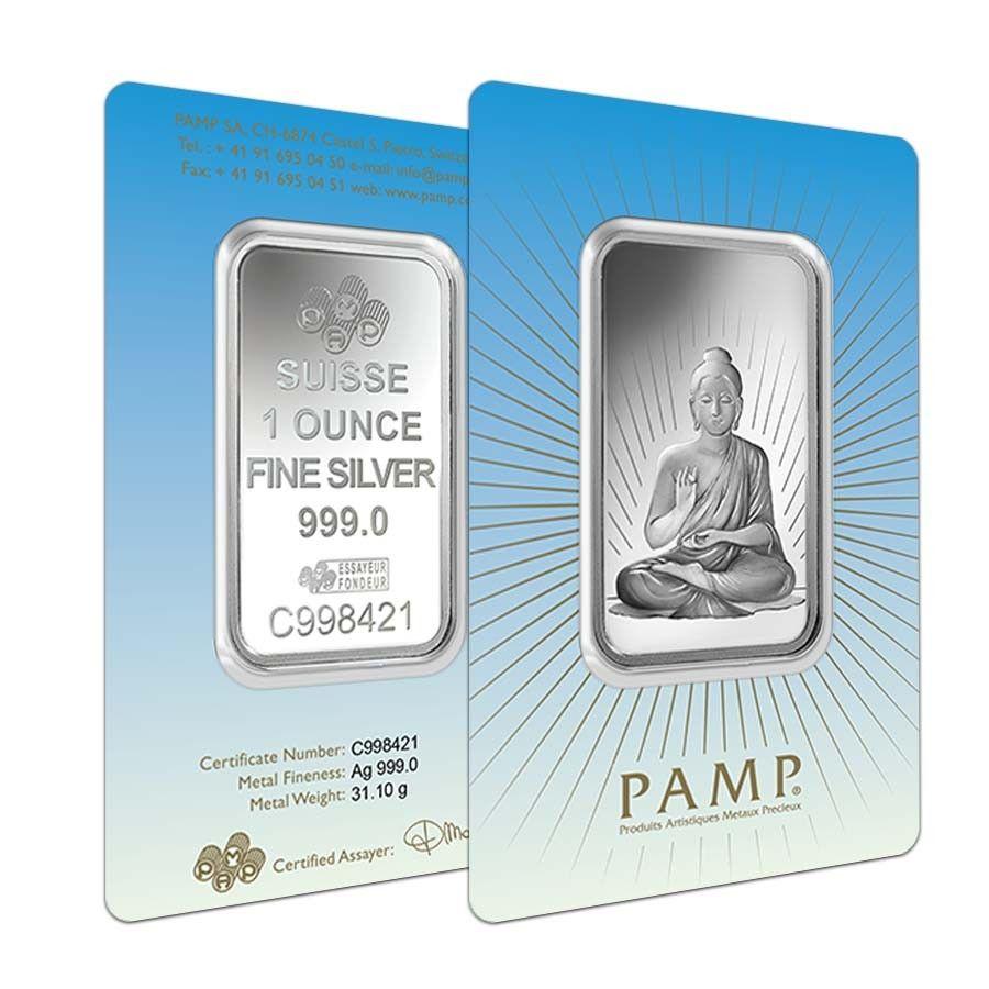 1 Oz Pamp Suisse Silver Bar Buddha In Assay 999 Fine Bullion Exchanges Silver Bars Silver Fine Silver