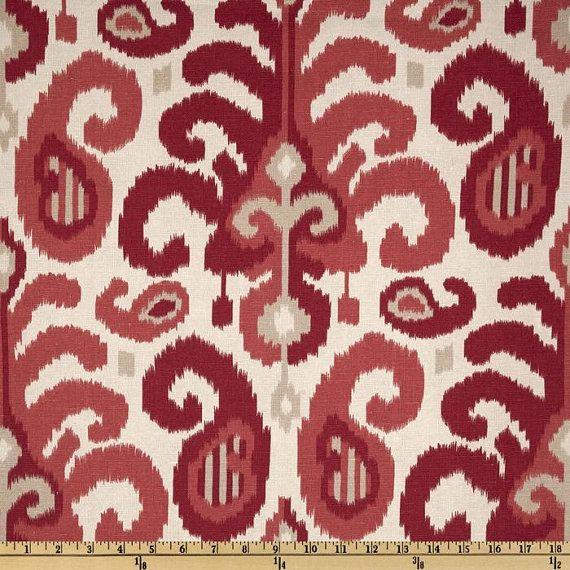 Fabric by the Yard Red Fabric Berry Ikat Fabric Suburban Home Rasul ...