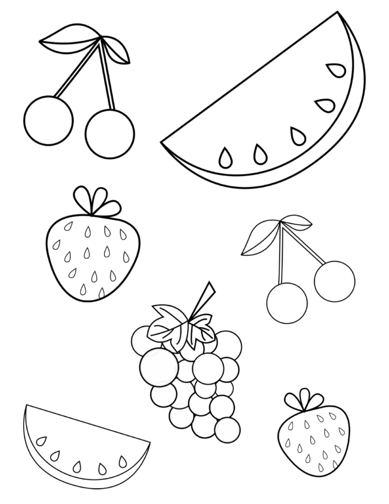FREE Summer Fruits Coloring Page PDF for Toddlers