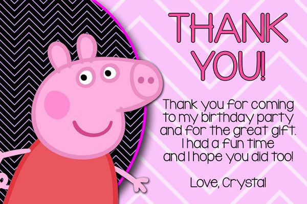 Peppa Pig Thank You Card Invitations
