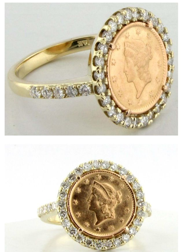 be83e36a984f9 My custom diamond gold coin ring. Made with my Grandfather's gold ...