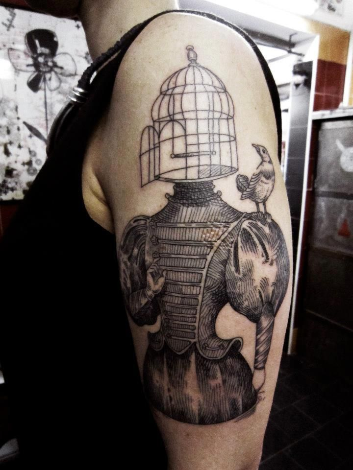 otto d'ambra bird cage #arm #tattoos | inkfully | tatouage, encre