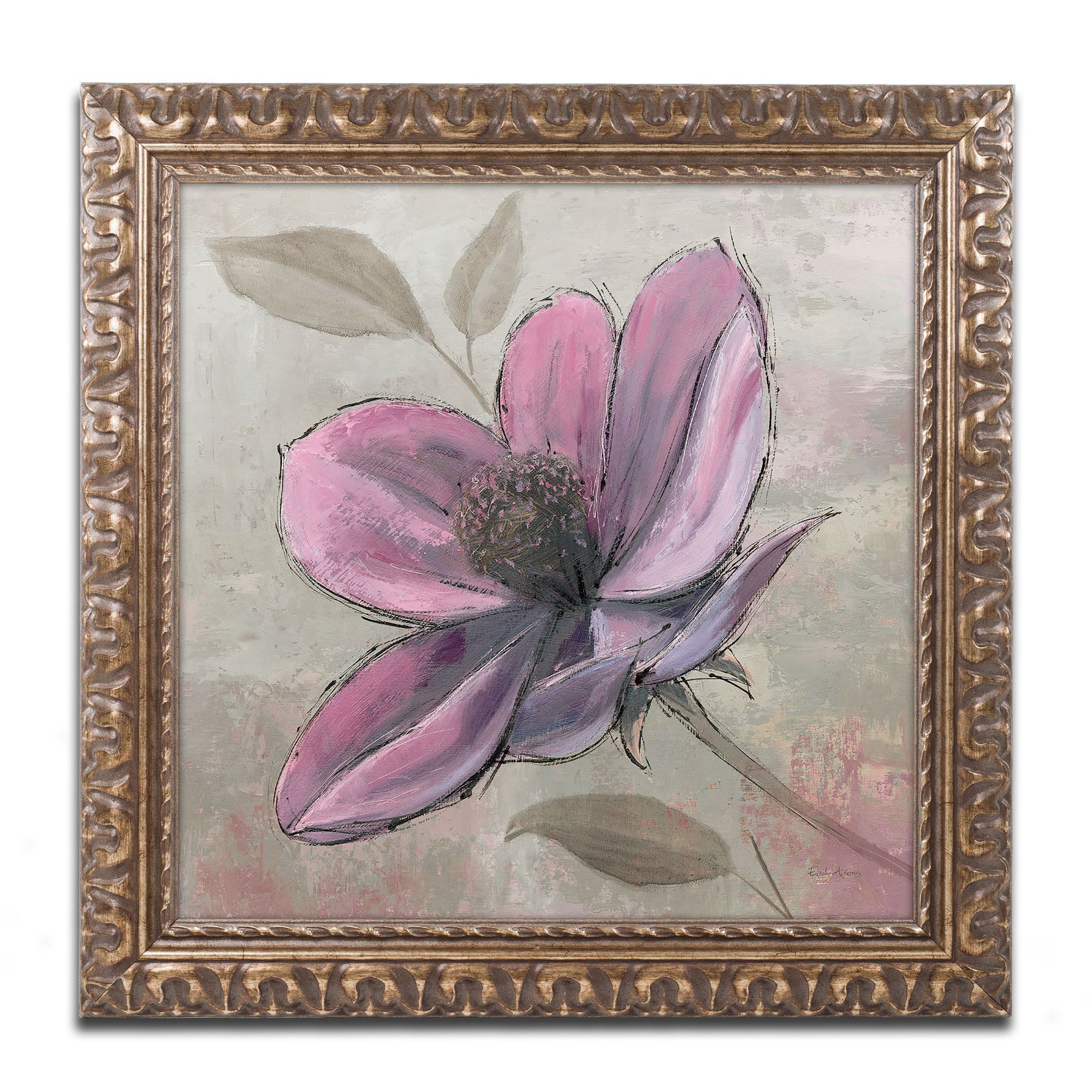 emily adams plum floral iii antiqued wood framed canvas art - Wood Frames For Canvas Paintings