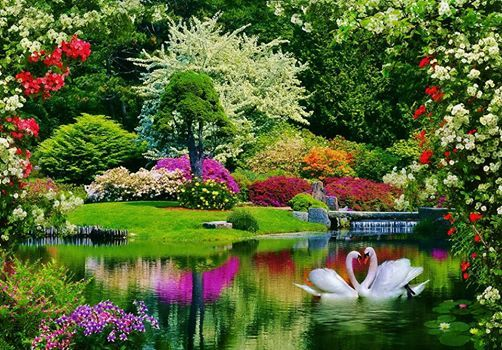 Flower Garden And Lake Cross Paintings Lake Landscape Cross Stitch Landscape