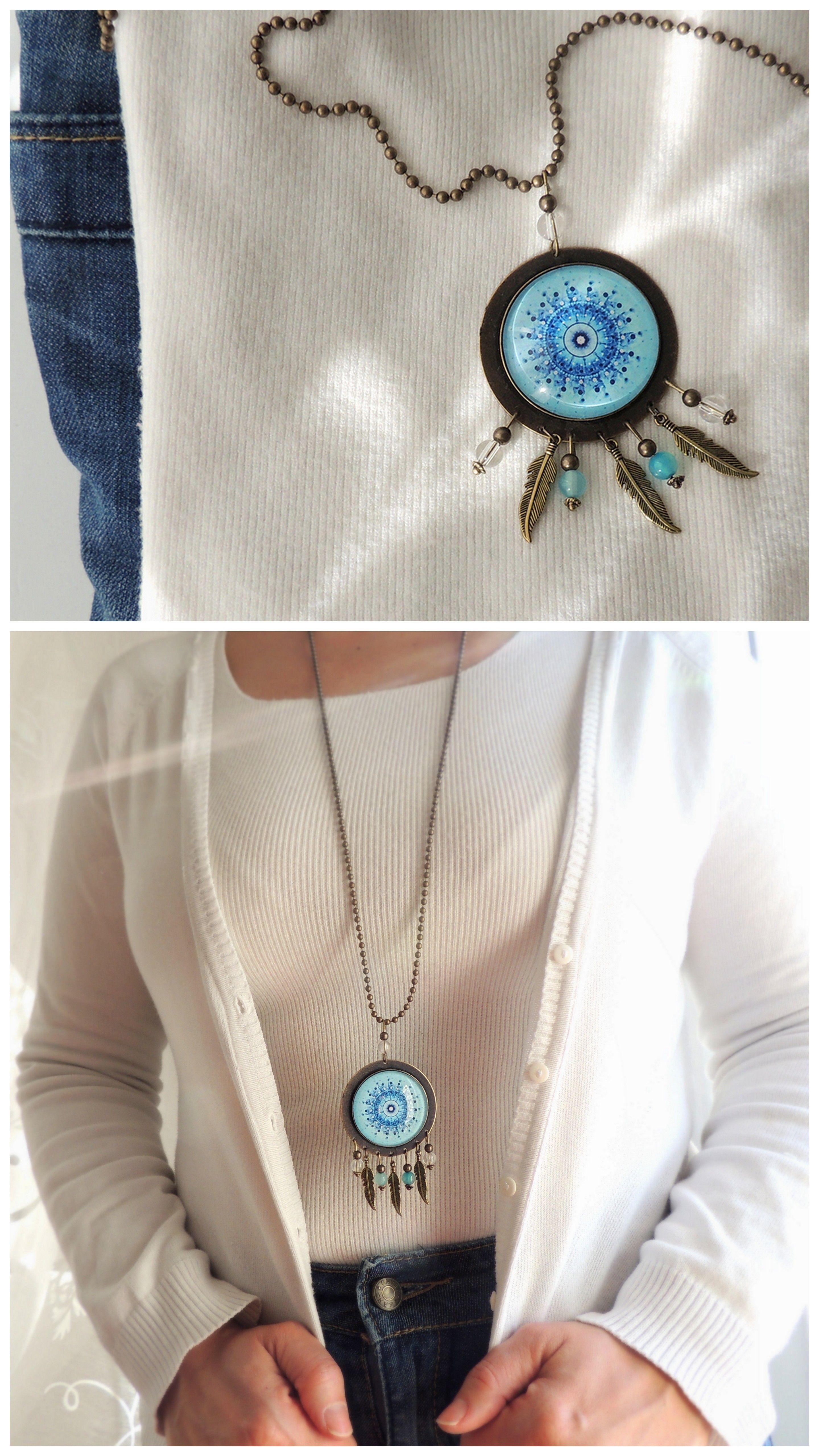 Dream Catcher Necklace Meaning Dreamcatcher Necklace ICE MANDALA Blue Sky Mandala Jewelry with 33