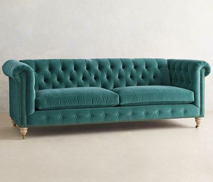 Velvet Lyre Chesterfield Sofa. A Teal Chesterfield Yess!