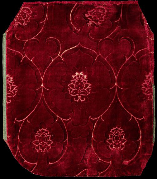 Velvet        Place of origin:        Italy (made)      Date:        second half 15th century (made)      Artist/Maker:        Unknown (production)      Materials and Techniques:        Silk velvet      Museum number:        555-1884      Gallery location:        In Storage