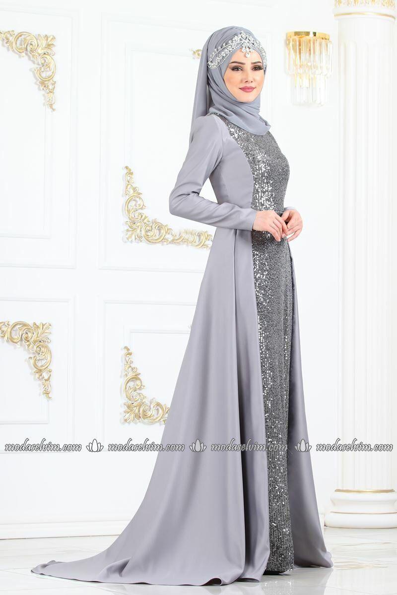 33502fc122644 moda selvim Pul Payetli Kuyruklu Abiye YGS6194 Gümüş | Dantel, 2019 ...