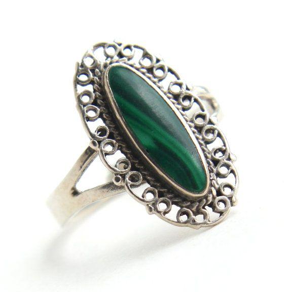 Vintage Sterling Silver Malachite Ring Size 7 1 2 Filigree Green