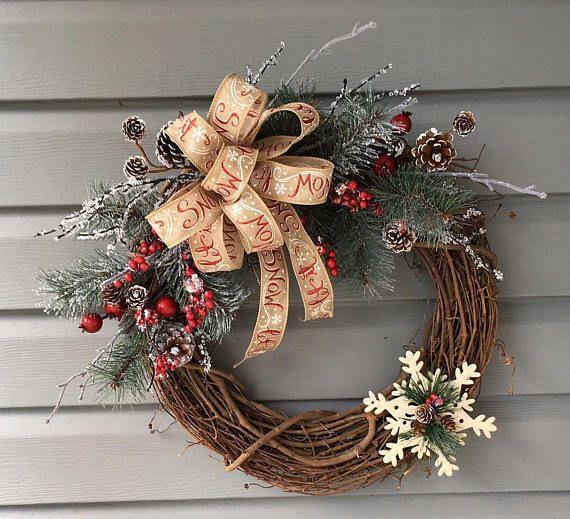 Christmas Wreath For Front Door Xmas Wreath Christmas Grapevine Wreath Country Christmas Wreath Rus Christmas Wreaths Diy Christmas Wreaths Holiday Wreaths
