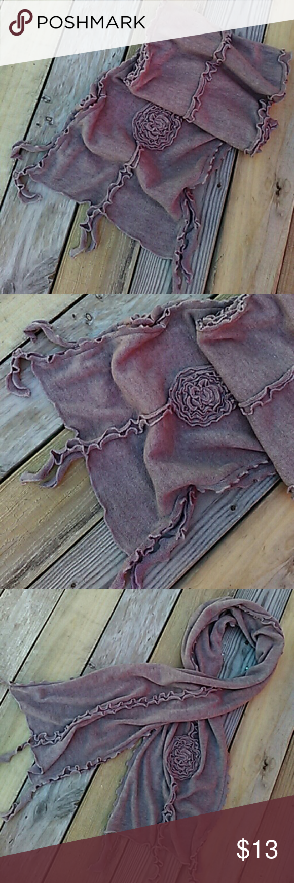 """Fringed Scarf EUC. Very cute scarf consist of wool and acrylic. Fringed on the end. Has a flower on one side. Approx 76"""" long and 13"""" wide. Ruffled down the sides. Accessories Scarves & Wraps"""