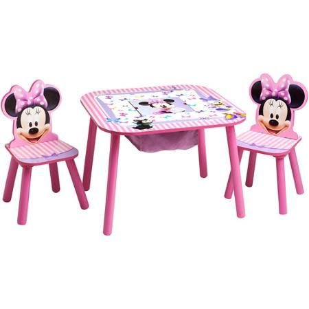 minnie table and chairs shabby chic kitchen disney mouse storage set kiddos