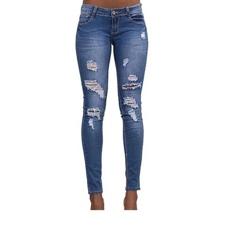 524a8ab3be4be Sheside Provides You With The Fine Woman Slim Stretch Denim Pants Pants  Scratch Hole Jeans Jeans Best Fashion  sheside  pants  jeans