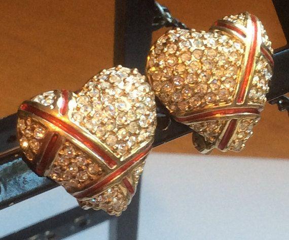 Garnay Rhinestone Heart Earrings with Red Ribbons by junquegrl