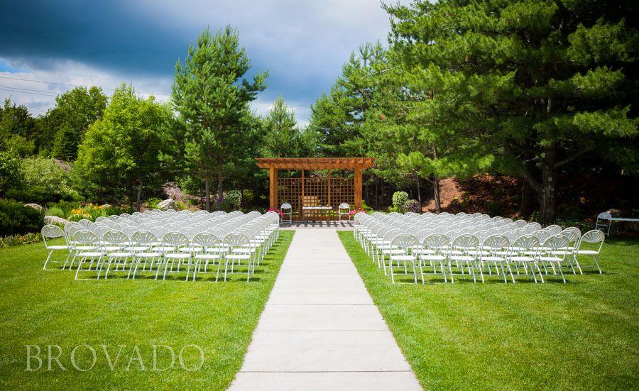 beautiful setup for an outdoor garden wedding at florian gardens in eau claire wi weddings