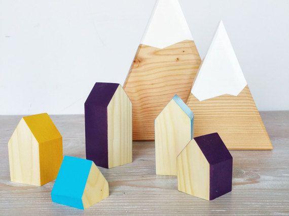 Happy Little Neighborhood - Wood Block Houses - PLUM, MUSTARD, TURQUOISE - Fall - Natural Wood - Montessori, Waldorf
