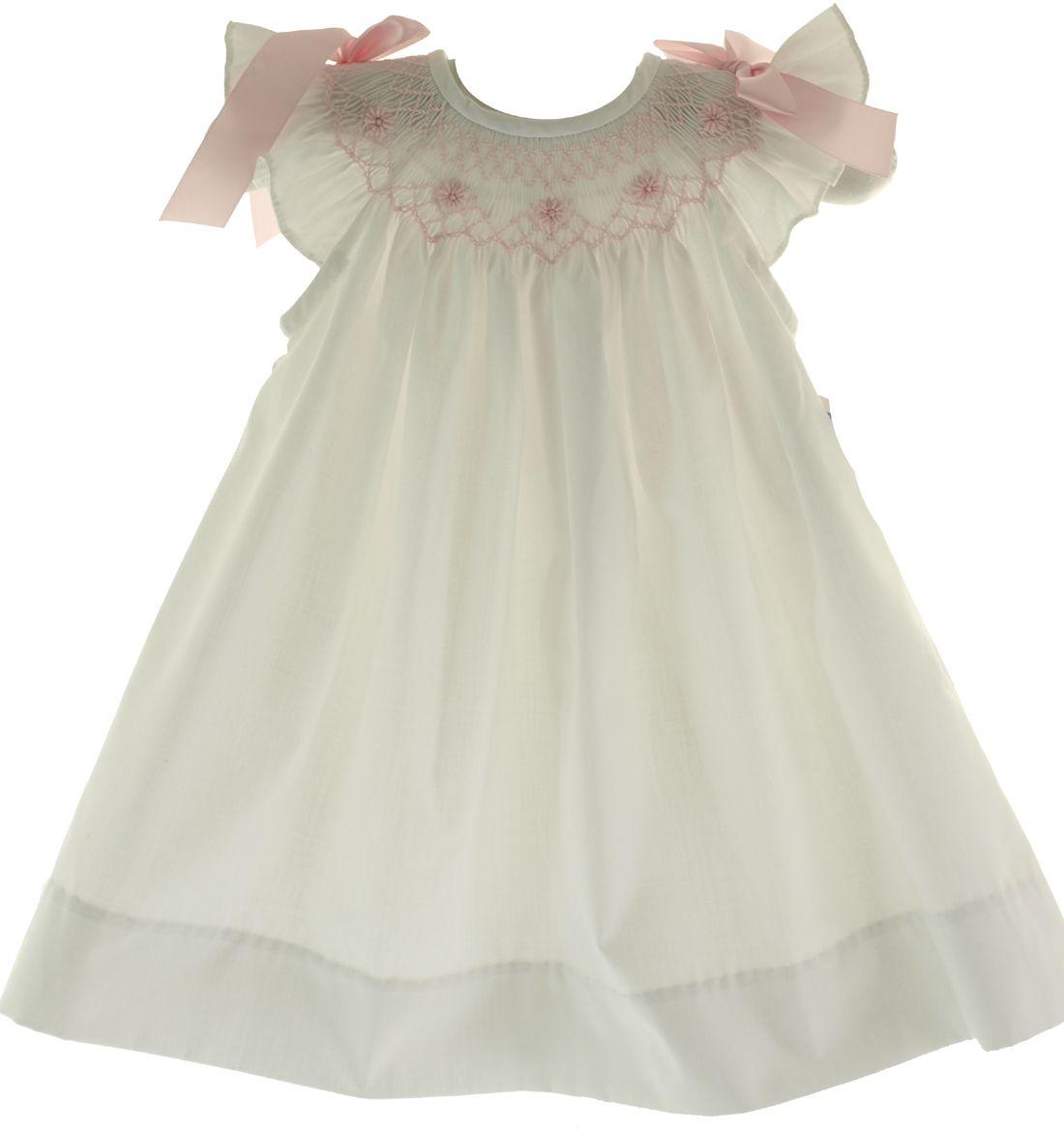 Girls Smocked Dress White Pink Bows Angel Bishop | Bow Peep ...