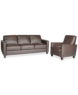 Beau Emilia Leather Sofa Living Room Collection   Furniture   Macyu0027s