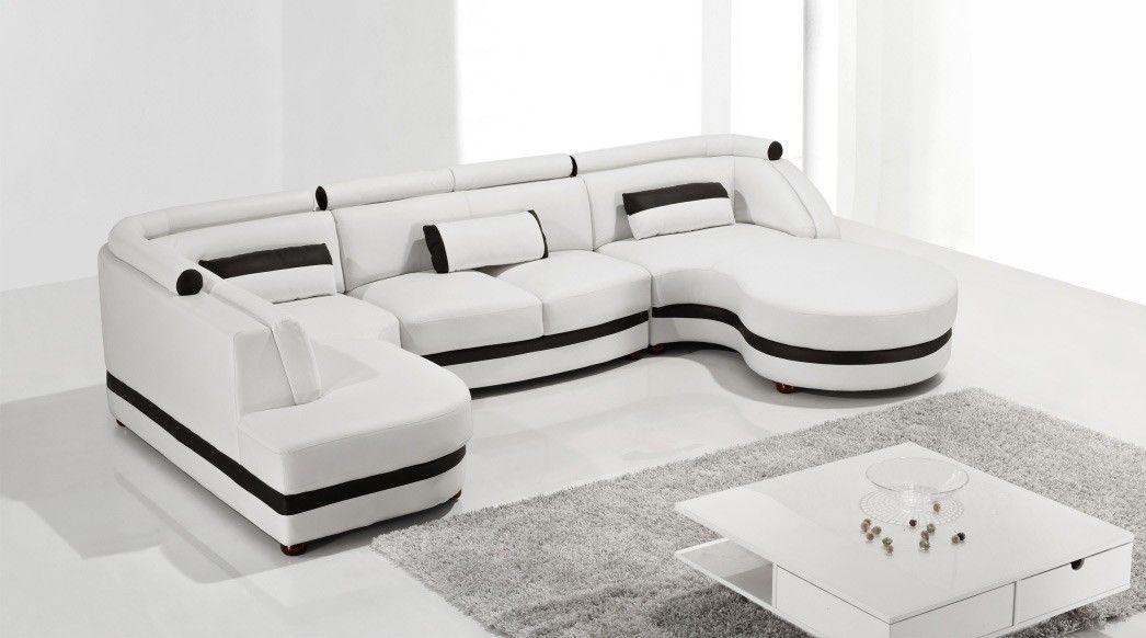 modern leather sectional sofa sofas living room white for small spaces calgary aria fabric set