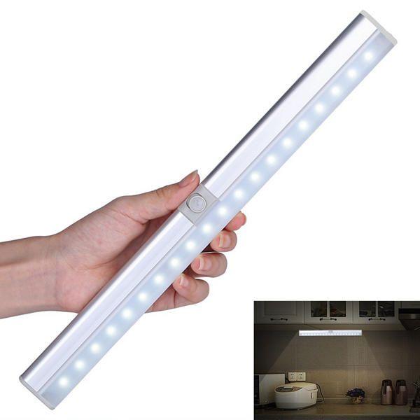 Portable 20 LED USB Rechargeable Light Sensor U0026 PIR Mtion Cabinet Closet  Light For Kitchen Stairs