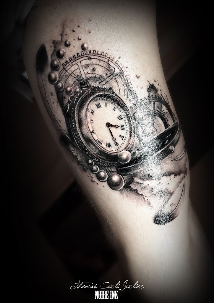 Clock tattoo tatouages tatouages horloge et id es de tatouages - Tatouage homme rose ...