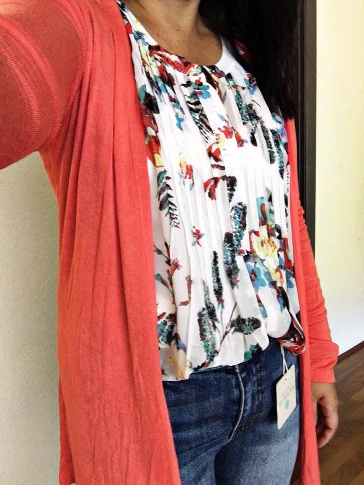 5100215444affa Love this combo of floral blouse and bright cardigan. Daniel Rainn Malaika  Henley Blouse Stitch