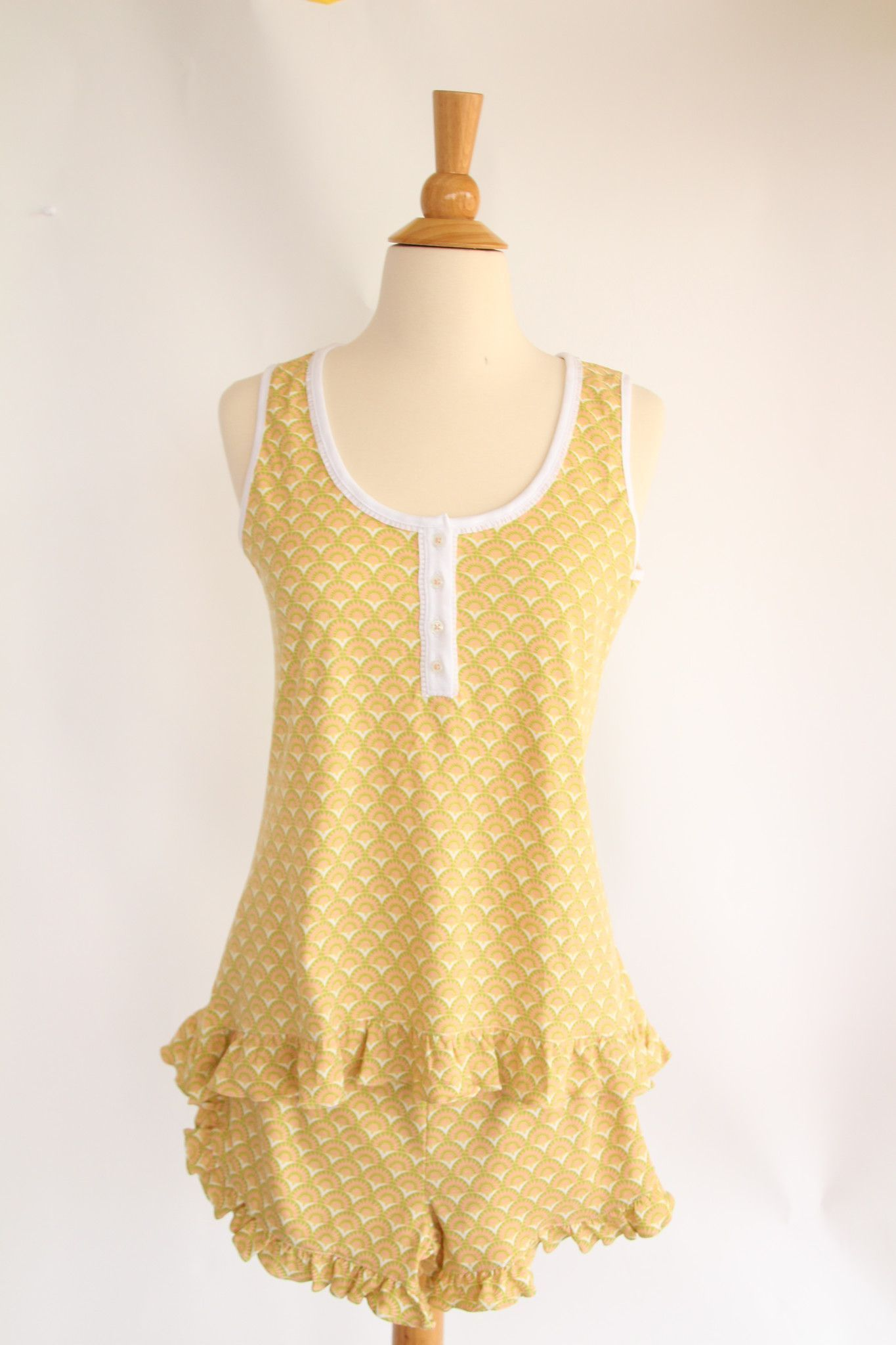 Women S Pima Cotton Sleeveless Top With Ruffle Detail And Button