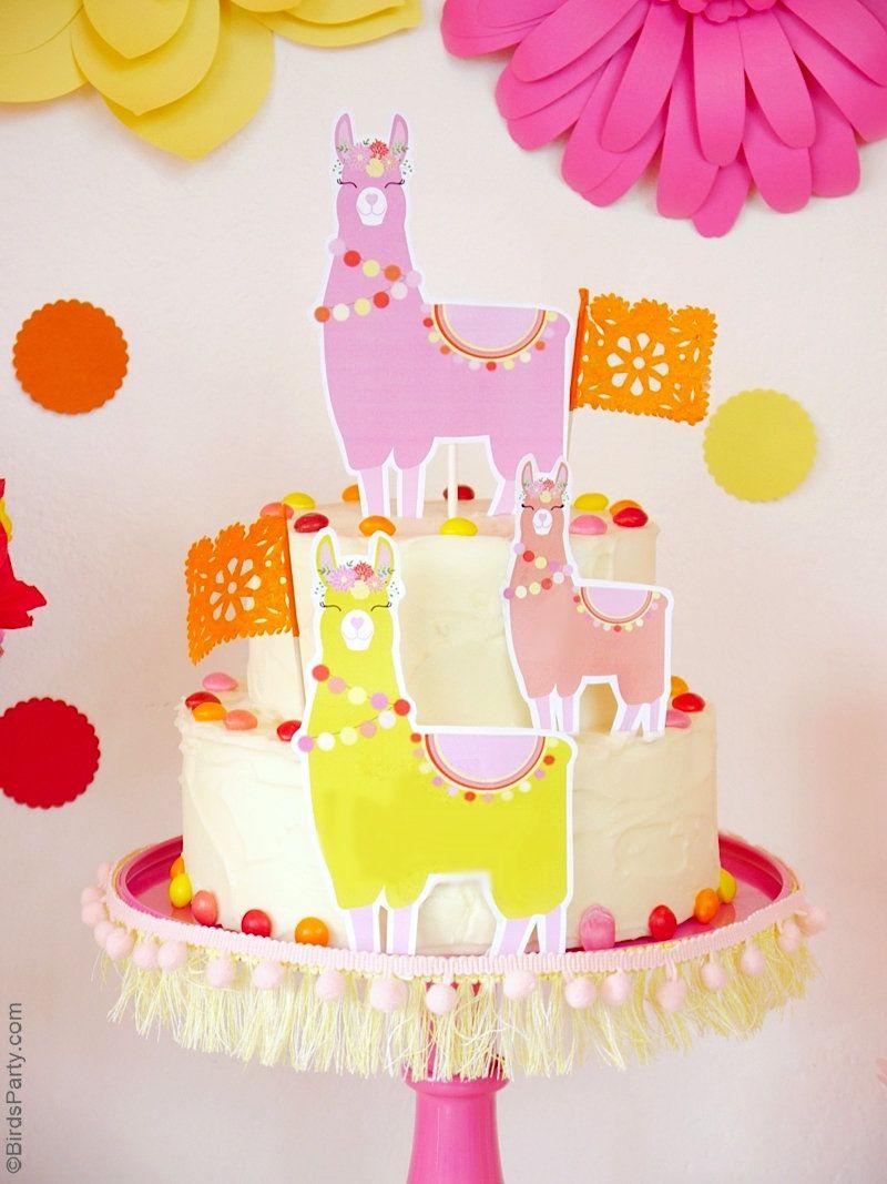 llama cake topper printable