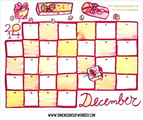 Free Printable Calendar December  Hand Drawn  Dimensions Of