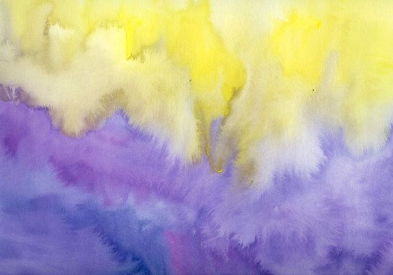 Yellow And Purple Abstract Watercolor Painting Original Via Etsy