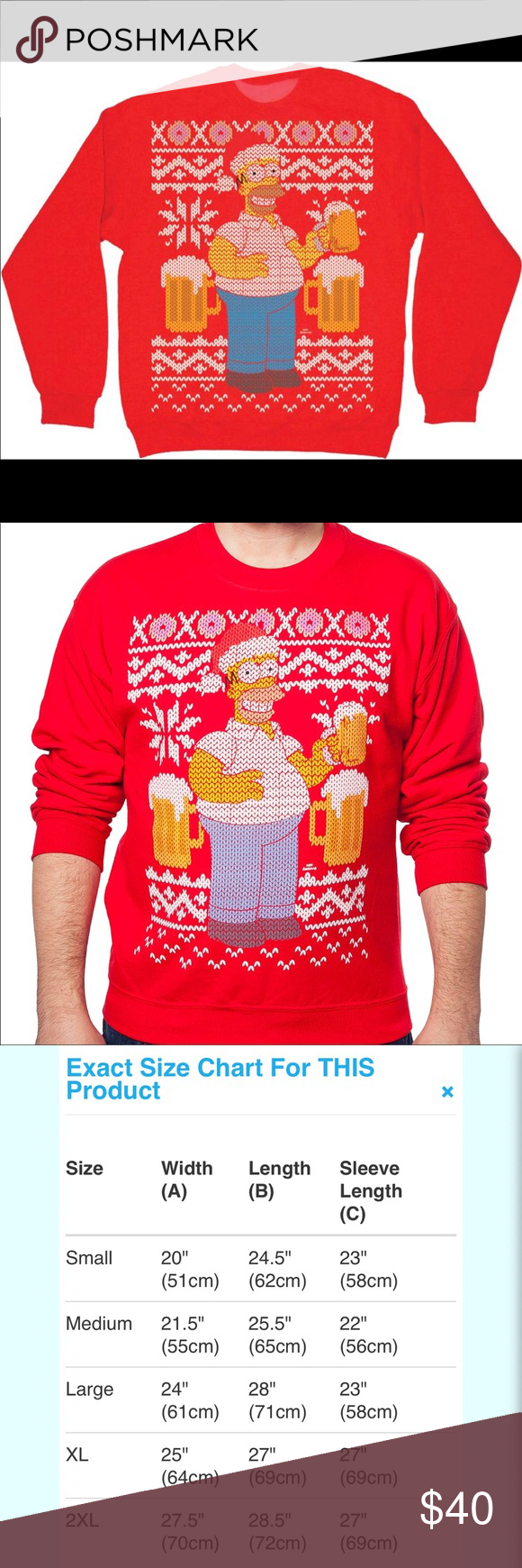 THE SIMPSONS Ugly Red Christmas Homer Beer Sz XXL • Vendor