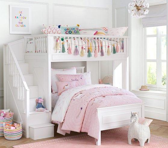 Unicorn Shaped Wicker Storage Pbkids Bed For Girls Room Bunk