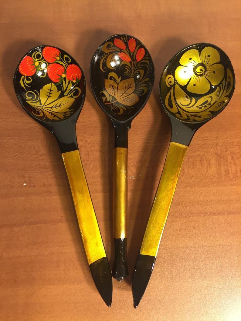 Russian Folk Art Spoons Khokhloma Spoon 2 vintage 1960s Russian spoons Vintage Russian Wooden Spoons