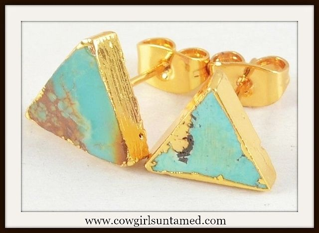 earrings genuine natural plated gold itm stud turquoise drop