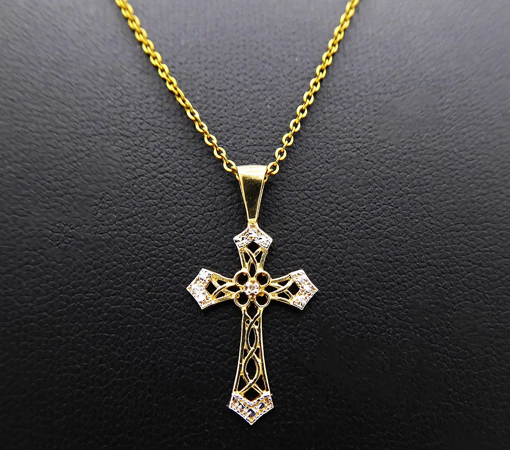 12K Gold Filled 10K Gold Gold Cross Gold Chain 12K Gold Filled Vintage 12K Gold Filled Necklace with 10K Gold Cross Vintage Chain