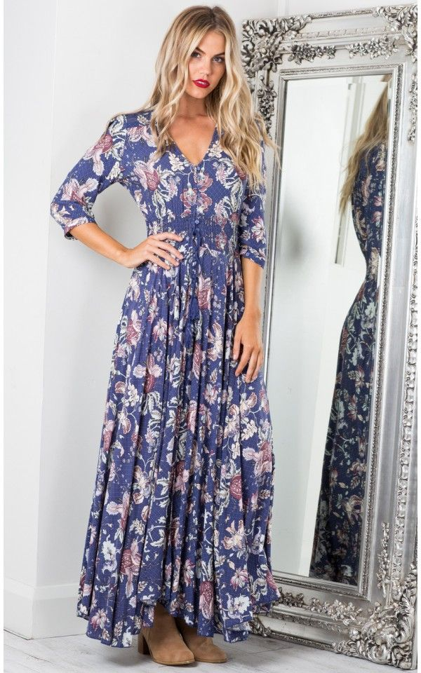 2fe00787b8d Lone Traveller maxi dress in indigo floral