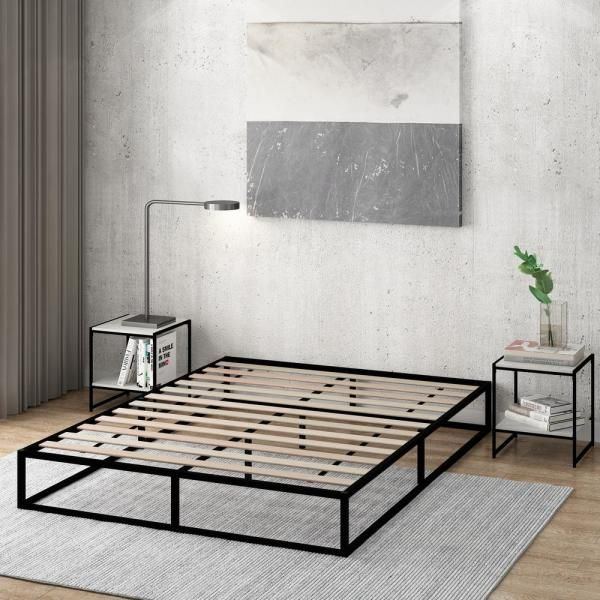 Furinno Angeland Monaco Queen Wood Slats Metal Bed Frame Foundation-FB1903Q - The Home Depot