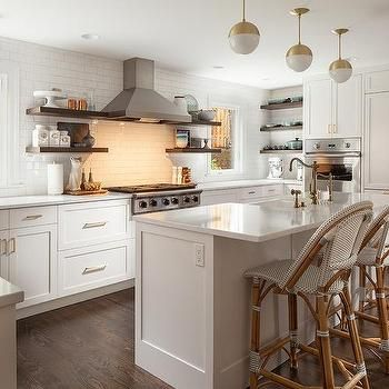 White Kitchen With Dark Wood Floating Shelves