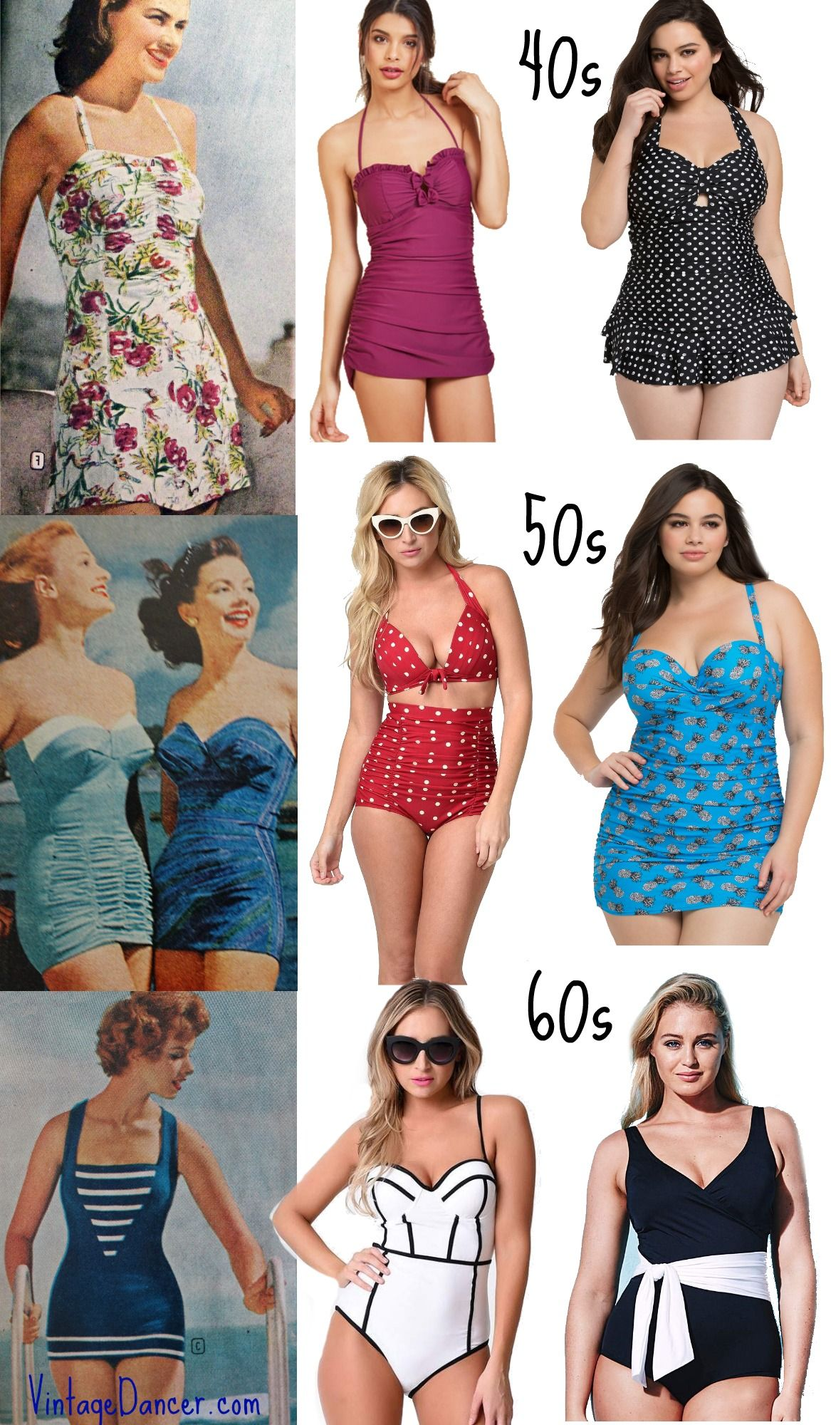 aa32769318d Vintage Style Swimsuits, Vintage Bathing Suits, 1940s, 1950s, 1960s styles  at VintageDancer.com