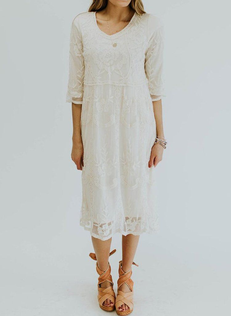 Sweet Casual 3 4 Sleeve Lace Dress Lace Dress With Sleeves Short Sleeve Floral Dress Lace Dress
