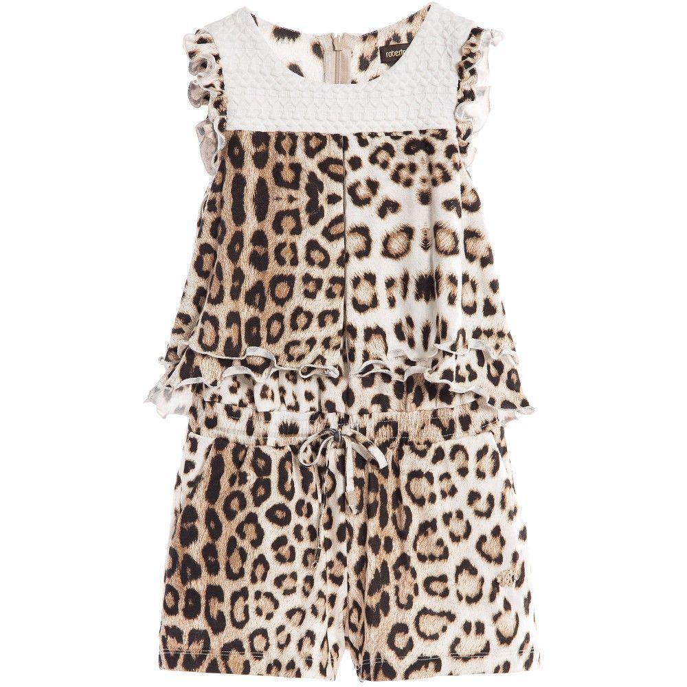 ed9d174df5 Roberto Cavalli - Girls Layered Leopard Print Playsuit ...