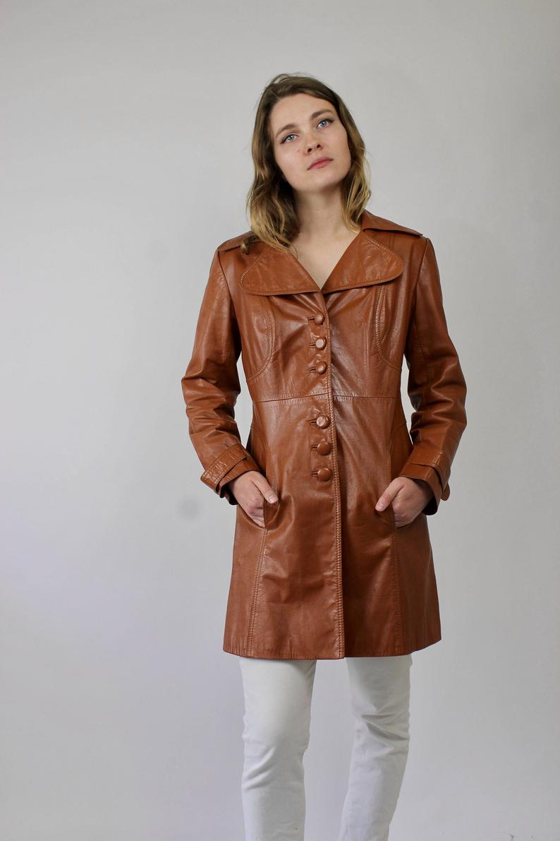60s Brown Leather Trench Coat/ Spy Coat/ Button Up Leather