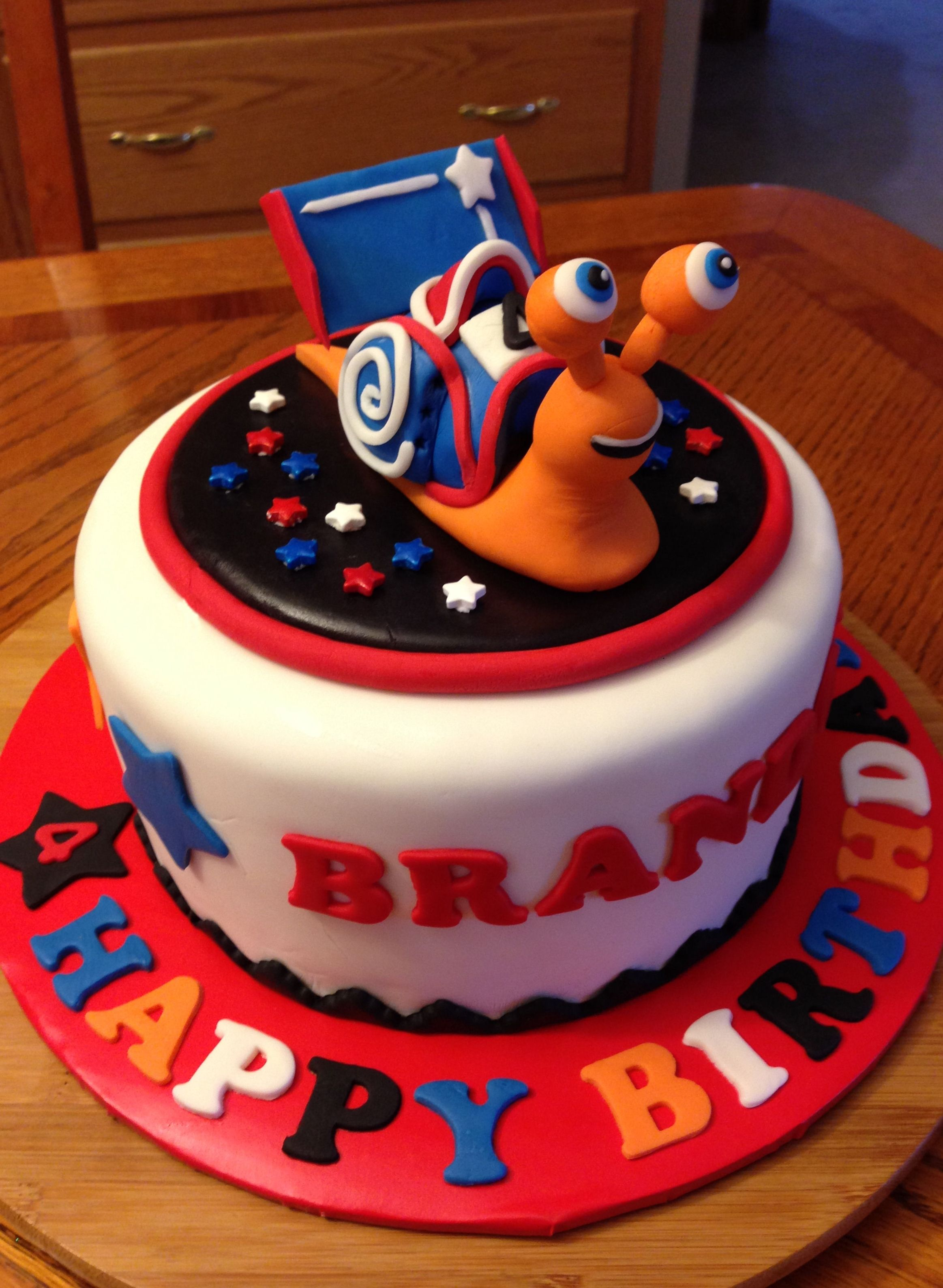 Turbo cake for my grandson.  The topper was challenging and fun to make!